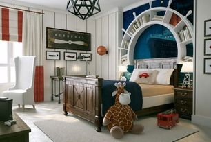 Traditional Kids Bedroom with Built-in bookshelf, Patton Back CM28643 Thin Striped Wallpaper, Pendant light, Hardwood floors