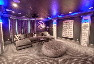 Traditional Home Theater with Carpet, Crown molding, Wall sconce, Grand luxe faux fur bean bag chair