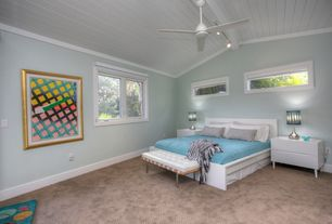 Modern Guest Bedroom with Built-in bookshelf, Cathedral ceiling, Carpet, Ceiling fan