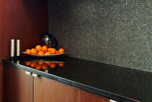 Contemporary Kitchen with Daltile Egyptian Glass Papyrus Mosaic, Silestone Quartz Countertop in Negro Tebas
