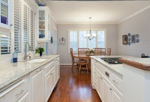 Traditional Kitchen with Breakfast nook, electric cooktop, Undermount sink, Raised panel, Standard height, specialty window