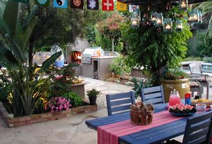 Eclectic Patio with outdoor pizza oven, Pathway, Fence, exterior stone floors, Outdoor kitchen