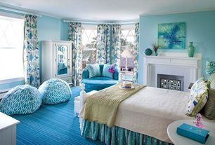 Traditional Kids Bedroom with Fireplace, Cement fireplace, no bedroom feature, Crown molding, metal fireplace, Paint