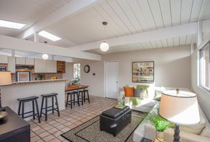 Contemporary Great Room with Skylight, interior wallpaper, Pendant light, Exposed beam, Built-in bookshelf