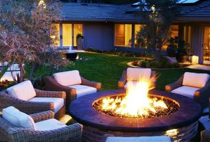 Contemporary Landscape/Yard with large firepit, Fire pit, Pathway
