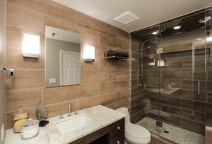 Contemporary 3/4 Bathroom with Complex marble counters, Porcelanosa montreal vintage floor tile, Handheld showerhead, Flush
