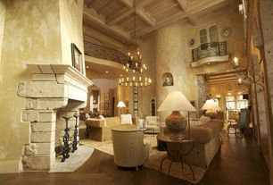 Mediterranean Living Room with Fireplace, Chandelier, interior wallpaper, High ceiling, Casement, stone fireplace, can lights