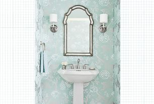 Traditional Powder Room with Shades of light - soho sconce, antique nickel, Seagull lighting - stirling one light wall bath