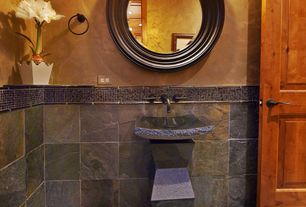 Rustic Powder Room with Powder room, MSI San Rio Rustic Slate Tile, specialty door, Vessel sink