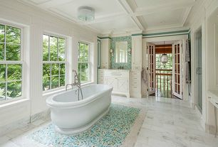 Traditional Master Bathroom with Master bathroom, Complex marble counters, Undermount sink, flush light, Box ceiling