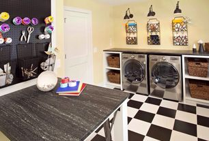 Eclectic Laundry Room with Standard height, Built-in bookshelf, Undermount sink, bedroom reading light, laundry sink