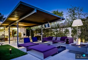 Modern Patio with exterior stone floors, Outdoor kitchen, Pathway, picture window, Fire pit, sliding glass door, Fence
