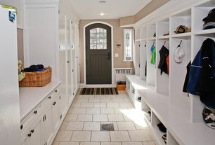 Traditional Mud Room with Glass panel door, Built-in bookshelf, Pental Quartz in Super White, terracotta tile floors