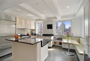 Contemporary Kitchen with Simple marble counters, Subway Tile, Tild aily, cement porcelain tile, Inset cabinets, L-shaped
