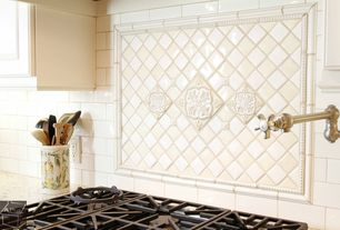 Traditional Kitchen with White kitchen cabinet, gas cooktop, tile backsplash, Tile inlay