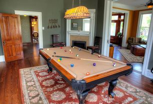 Traditional Game Room with Pendant light, specialty door, Standard height, Fireplace, stone fireplace, Hardwood floors