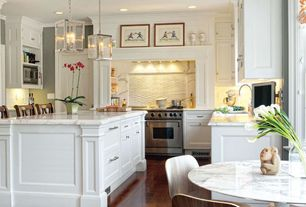 "Traditional Kitchen with Raised panel, Lippa 40"" Artificial Marble Dining Table in White, Undermount sink, Crown molding"