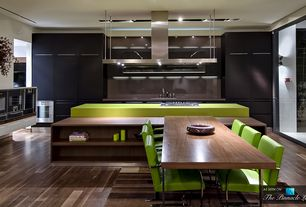 Modern Kitchen with Breakfast nook, Knoll Brno Chair Tubular, Silestone quartz green fun, Flush, Undermount sink, L-shaped