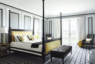 Art Deco Master Bedroom with Carpet, Vienne french four poster bed, Upholstered tufted bench, interior wallpaper