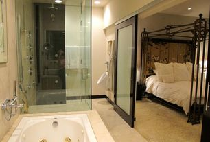 Asian Master Bathroom with Master bathroom, limestone tile floors, French doors, frameless showerdoor, Rain shower