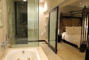 Asian Master Bathroom with drop in bathtub, Bathtub, Rain shower, Shower, frameless showerdoor, Standard height, Paint