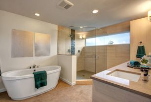 Modern Master Bathroom with Freestanding, Wall Tiles, Shower, American Standard Cadet Acrylic Freestanding Tub, Wall sconce