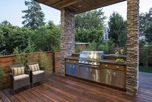 Rustic Deck with Fence, Outdoor kitchen
