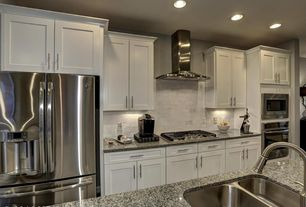 Traditional Kitchen with Speranza Carrera 3x6 Polished Marble Tile, Kitchen island, Flush, Limestone Tile, Stone Tile
