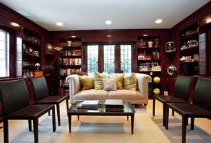 Traditional Library with Standard height, can lights, Built-in bookshelf, Casement, Laminate floors