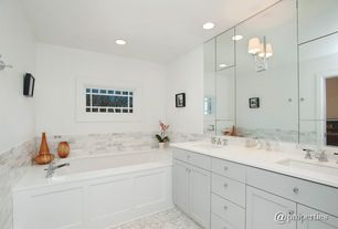 Contemporary Full Bathroom with Andersen Windows A Series Queen Anne Window, Corian counters, complex marble tile floors