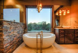 Rustic Master Bathroom with Black  bear rustic / ledge stone 7.5 lineal ft corners