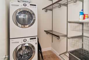 Contemporary Laundry Room with laundry sink, Paint 1, LG - 4.0 DOE cu. ft. High-Efficiency Front Load Washer, Ironing Board