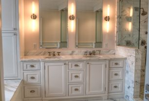 Traditional Master Bathroom with Crown molding, Inset cabinets, complex marble tile floors, Flat panel cabinets, High ceiling