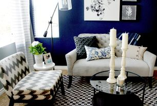 Eclectic Living Room with Carpet, West Elm Adjustable Glass Floor Lamp, West Elm Elton Settee, specialty window, Paint 2