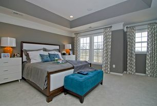 Contemporary Master Bedroom with Crown molding, Carpet, Haeger Potteries Paprika Oval Ceramic Table Lamp, High ceiling