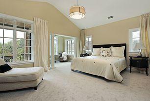 Traditional Master Bedroom with Standard height, Paint, Columns, flush light, picture window, Carpet, Pendant light, Casement