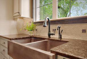 "Kitchen with Limestone Tile, Raised panel, Native trails 33"" x 22"" farmhouse duet hand hammered kitchen sink, Standard height"