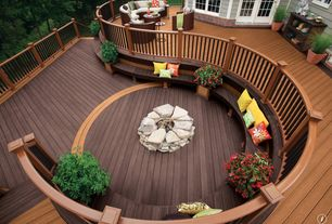 Traditional Deck with Casement, Curved decking and railing, Deck Railing, Raised beds, French doors, Fire pit