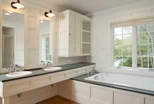 Traditional Master Bathroom with Flat panel cabinets, Hardwood floors, Double sink, Master bathroom, Flush, Slate counters