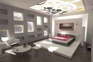 Modern Master Bedroom with Decorative ceiling, Mural, Wall sconce, Tile floor, Skylight, Book shelf niche, Built-in bookshelf