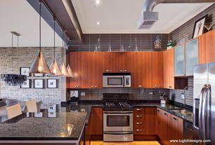Modern Kitchen with U-shaped, stack bond tiles, 1 Light Sugar Pendant by Tech Lighting, Flush, Breakfast nook, High ceiling