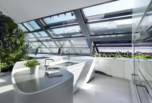 Contemporary Kitchen with Remer by Nameek's Single Mounted Deck Mounted Kitchen Sink Faucet, L-shaped, Undermount sink