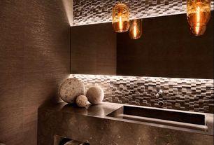Modern Powder Room with York Brown Shimmering Grasscloth Wallpaper, Pendant light, Powder room, Backlit mirror, Ceramic Tile