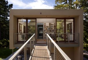 Contemporary Exterior of Home with Open concept, can lights, Natural light, Wood bridge, Wood casement, Bridge entry, Paint