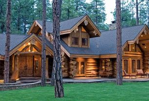 Rustic Exterior of Home with Lodge, Wood log exterior, Natural wood exterior, Cabin