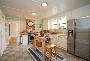 Country Kitchen with drop-in sink, stone tile floors, Wood counters, dishwasher, partial backsplash, Crown molding, gas range