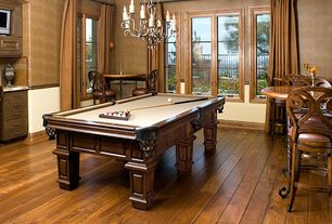 "Traditional Game Room with Vanier Engineered Hardwood - Montage Castellum Oak Collection Laurel / Oak / 7 1/2"", Chandelier"