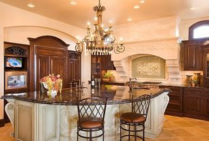 Traditional Kitchen with Complex granite counters, L-shaped, Undermount sink, Large Ceramic Tile, Raised panel, Chandelier