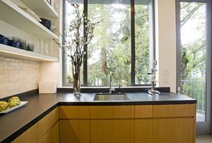 Contemporary Kitchen with Inset cabinets, European Cabinets, French doors, full backsplash, Standard height, Undermount sink