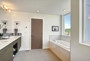 Contemporary Master Bathroom with Bathtub, Casement, Mirabelle drop in soaking tub, linen and towel storage cabinet, Flush